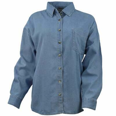 River's End Long Sleeve Denim Shirt  Casual   Tops - Blue -