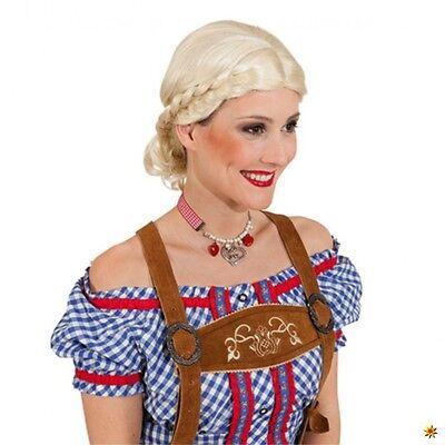 Dirndl Perücke Bärbel blond Zopfperücke seitlich geflochten Oktoberfest