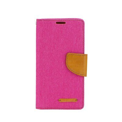 ^ CANVAS Book Buch Form Handytasche Jeans Cover Hülle Für Apple iPhone 5 PINK (Buch Handy Cover Iphone 5)