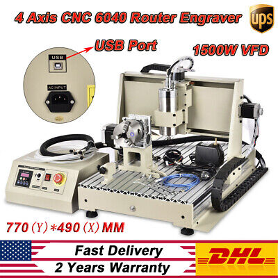 Usb 4 Axis 1.5kw Vfd 6040 Cnc Engraver Machine Pcb Wood Drilling Milling Cutter