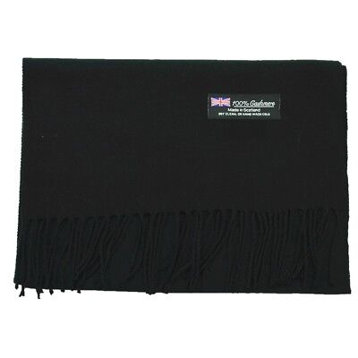 Men Women unisex 100% CASHMERE Warm PLAIN Scarf pure solid Wool SCOTLAND Black
