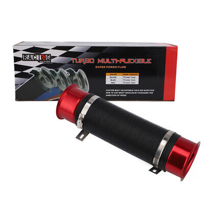 Universal 76mm Car Cold Air Intake Feed Flexible Pipe Filter Duct Induction Kit