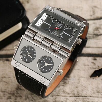 OULM Three Time Zone Movement Leather Band Strap Men Military Wrist Watch -