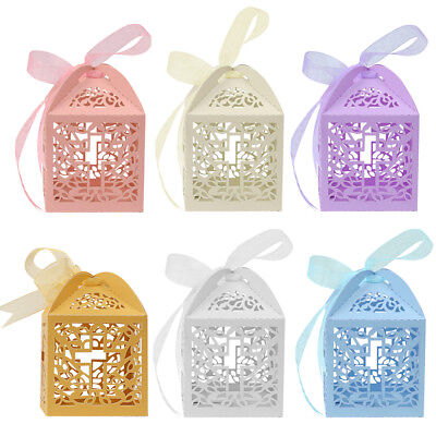 25/50/100Pcs Cross Laser Cut Candy Favor Gift Boxes Wedding Party Baby - Bridal Cross