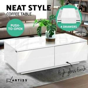 Modern Coffee Table 4 Storage Drawers High Gloss Wooden Furniture