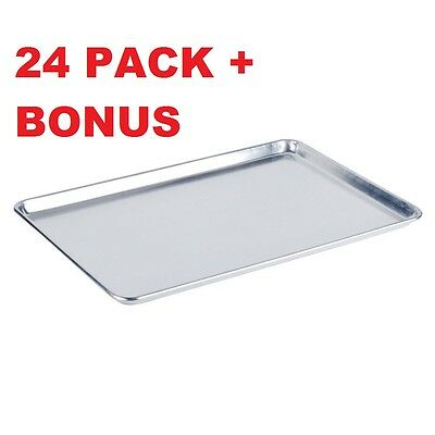 24 Pack Full Size Aluminum 18 X 26 Bun Sheet Baking Pan Wire In Rim Commercial