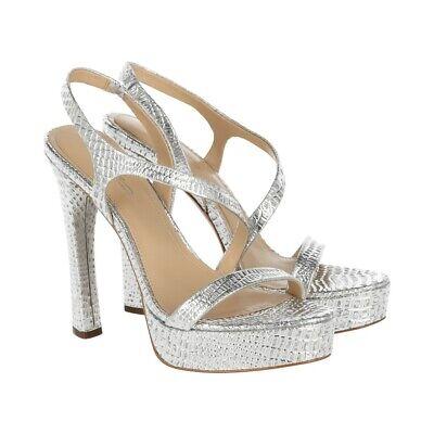 Imagine VINCE CAMUTO Ladies High Heels Leather Metallic Silver Im-Prent Size 39