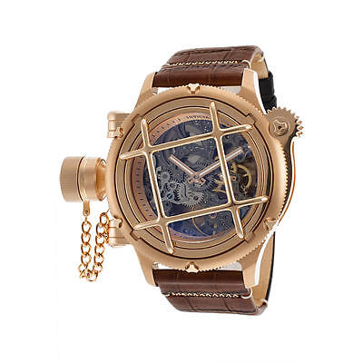Invicta Men's Russian Diver 14628 Two-Tone Leather Skeleton Dial Rose 18K G/P SS