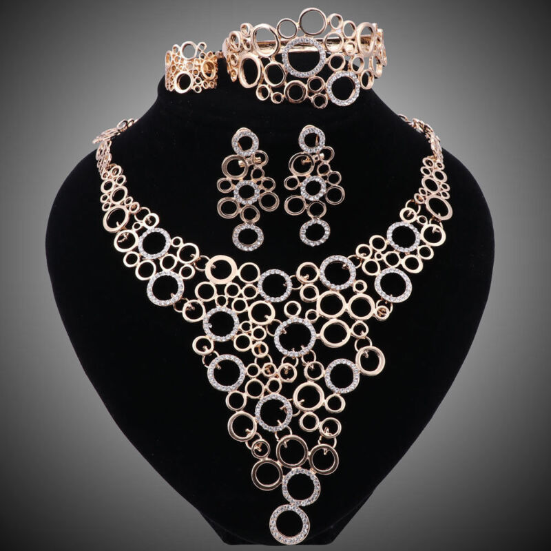 Women Gold Plated Crystal Africa Dubai Wedding Party Necklace Ring Jewelry Sets