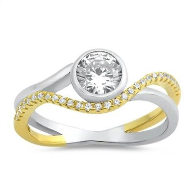 Two Tone Round Bezel Cubic Zirconia Engagement .925 Sterling Silver Ring 5-10 Bezel Two Tone Ring