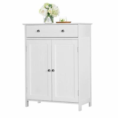 White Wooden Bathroom Floor Cabinet Storage Cupboard W/ Shelves Free Stand