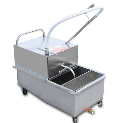 55 L Portable Fryer Oil Filter Cart Machines Commercial Filtration System 550w