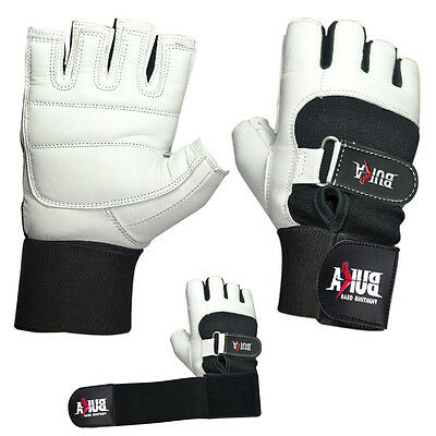 - BUKA WEIGHT LIFTING GYM GLOVES BODY BUILDING WORKOUT COWHIDE LEATHER NEW WHITE
