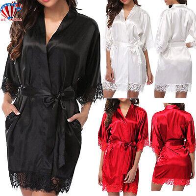 Nightie Nightgown - Women Satin Silk Nightdress Lace Lingerie Sleepwear Wrap Dress Robe Nightie Gown