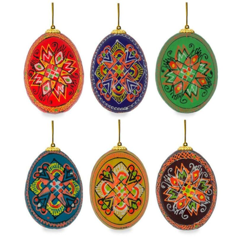 Set of 6 Hand Painted Wooden Ukrainian Easter Egg Ornaments 2.5 Inches