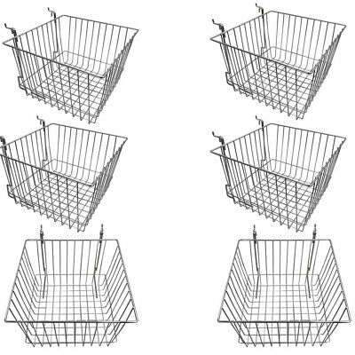 Set Of 6 Pcs Chrome Metal Wire Slatwall Gridwall Pegboard Deep Basket Rack