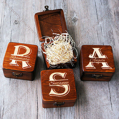 - Personalised Square Wooden Retro Wedding Gift Box / Custom Bridesmaid Box Gift k