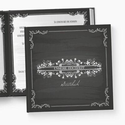 Gästebuch Hochzeit | Fragen | Blackboard | personalisiert | Kreidetafel schwarz ()