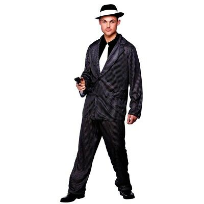 Adult GANGSTER GUY Mafia Mob Mens Male Fancy Dress Costume + HAT Godfather