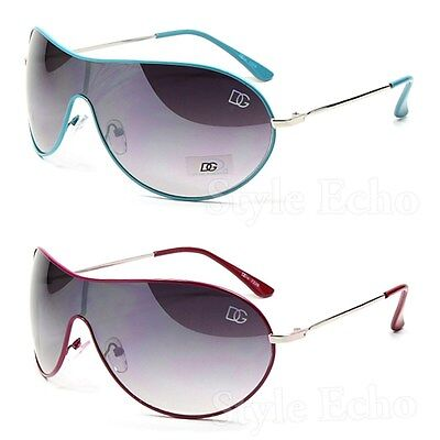 Metal Gradient Shield Womens Designer Sunglasses with Logo on Lens Edge