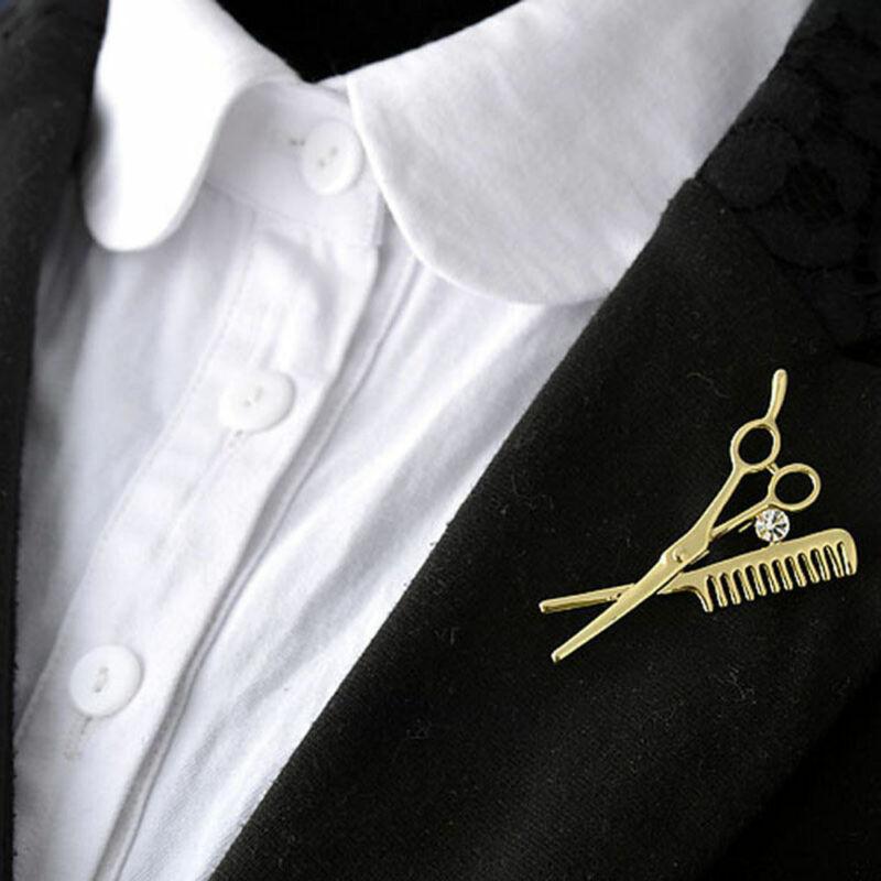 Creative Salon Hairstylist Hairdresser Barber Comb Scissor Brooch Pin 2 Colors