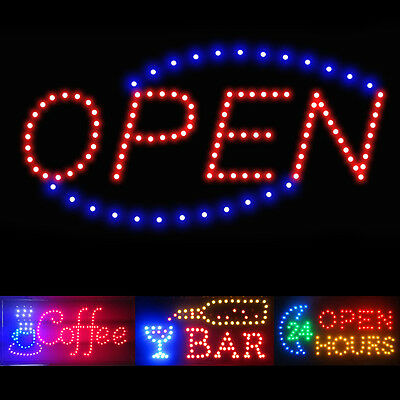 Flashing Motion LED Business Sign Shop Store Open Coffee Club Display Neon Light