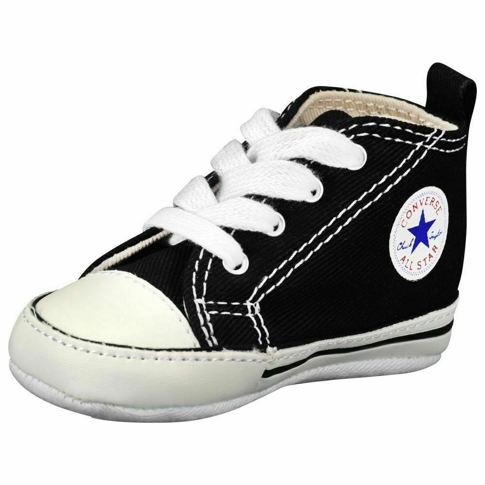 Converse All Star Black White Infant Boy Girl Baby Crib Shoes New Born All Sizes