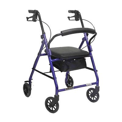 Probasics 4 Four Wheel Rollator Walker with Padded Seat, Blue ()