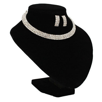Fashion Jewelry Wedding/Bridal Three Rows Rhinestone Necklace Choker Earring Set