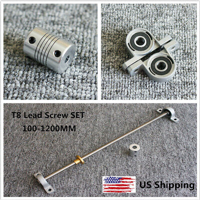 100-1200mm Lead 28mm 3d Printer T8 Lead Screw Set W Coupler Bearing Support