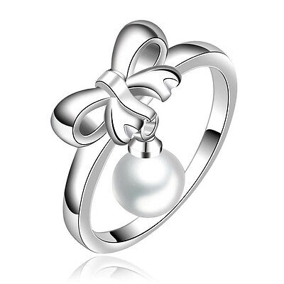 (SALE Silver Plated 925 Bow Ribbon Pearl Tassel Dangle Engagement Ring Size Q / 8)