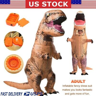 Halloween Inflatable Dinosaur T-REX Adult Costume Jurassic Cosplay Blowup Suit
