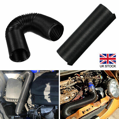 76mm 1M Car Cold Air Intake Feed Flexible Duct Pipe Hose Induction Kit Filter UK