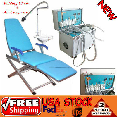 Portable Dental Delivery Unit System W Slow Suction 4hole Folding Dental Chair