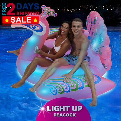 Swimline Giant LED Light Up Inflatable Swimming Pool Float Animal Ride On Toy - Giant Inflatable Animals