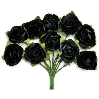 "KAISERCRAFT- MINI PAPER BLOOMS- .5"" FLOWERS WITH WIRE STEMS- BLACK"