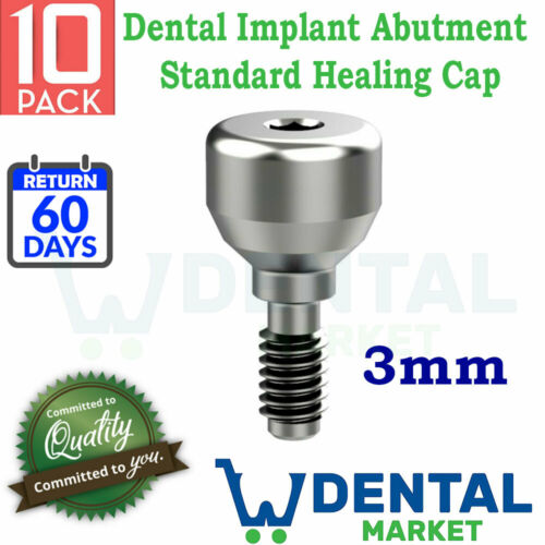 X 10 Units Dental Implant Abutment Standard Healing Cap Implants Abutments H=4mm
