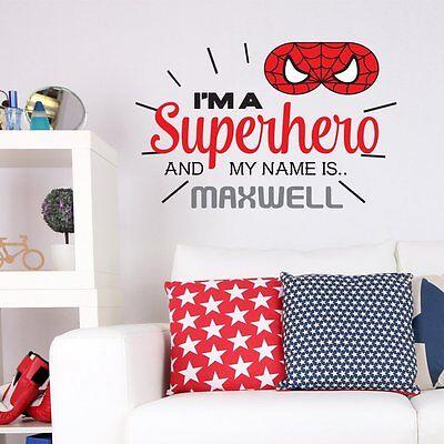 PERSONALISED SUPERHERO SPIDERMAN CHILDRENS KIDS BEDROOM WALL STICKER VINYL MURAL