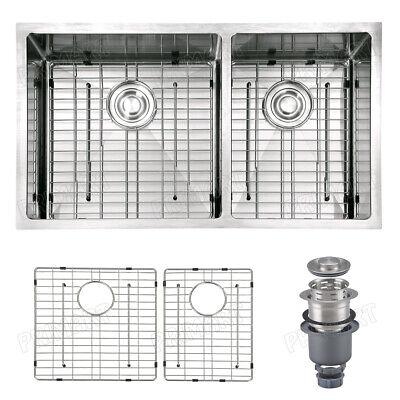 Primart 33X19 Inch 16 Gauge Undermount Double Bowls Stainless Steel Kitchen Sink