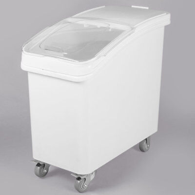 27 Gallon White Plastic Mobile Nsf Ingredient Storage Bin With Lid