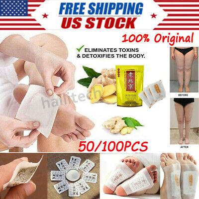 100PCS Premium Ginger Detox Foot Pads Patch Organic Herbal Cleansing Detox Pads