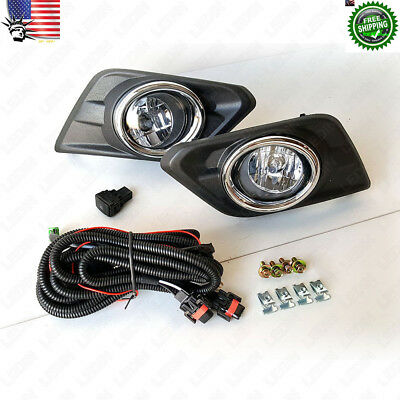 Clear Fog Lights Kit with Switch Bulbs Bezel Wiring For 2014-2016 Nissan Rogue