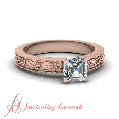 .90 Ct Asscher Cut Solitaire Victorian Diamond Rings For Women In Rose Gold GIA