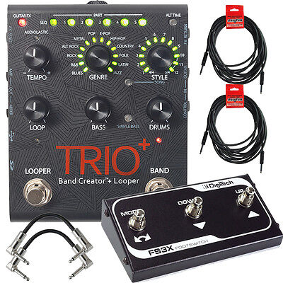 DigiTech Trio+ Plus Band Creator Looper Pedal + FS3X Foot Switch + Cables +Power