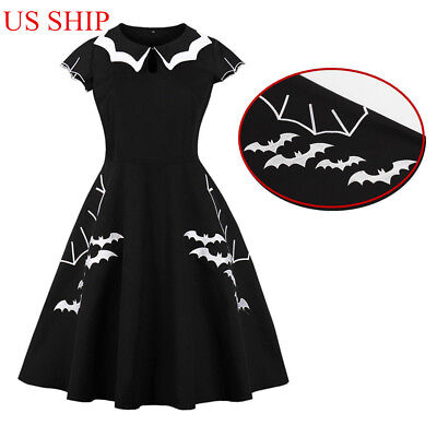 US!Halloween Plus Size Bat Embroidery Dress Punk Party Gothic Cosplay Costume (Gothic Halloween Party)