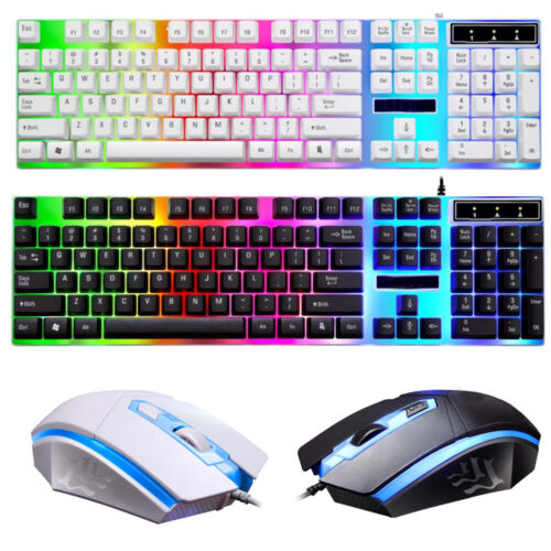 Computer Desktop Gaming Keyboard and Mouse Mechanical Feel Led Light Backlit