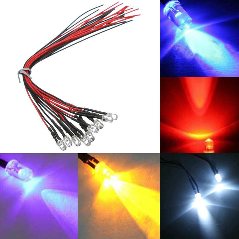10pcs Pre wired 3mm 5mm LED Set Light Lamp Bulb 20cm Prewired DC 12V 10 Colors