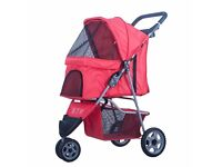 BTM Pet Travel Stroller Dog Puppy Cat Pushchair 3 Swivel Wheels Pram Jogger (Red)