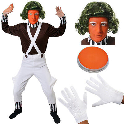 MENS CHOCOLATE FACTORY WORKER COSTUME BOOK FILM CHARACTER ADULT FANCY DRESS 70S