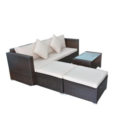 Garden Furniture - 4 Pcs Garden Outdoor Sofa Set Poly Rattan Sectional Couch Patio Furniture Brown